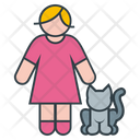 Woman and Cat Icon
