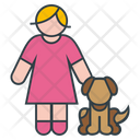 Woman and Dog Icon