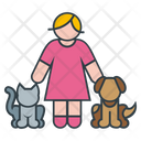 Woman And Pets Icon