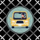 Woman Driving Car Icon