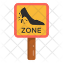 Woman Driving Caution Heel Warning Woman Driving Sign Icon