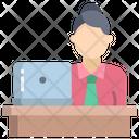 Woman Employee Working Desk Female Employee Icon