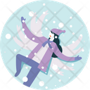 Woman Enjoy Winter Icon