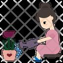 Woman Gardener Flower Watering Icon