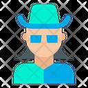 Woman Mask Man Hat Icon