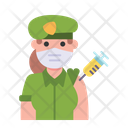 Woman Soldier Vaccination Icon
