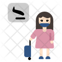 Woman Tourist Airport Arrival Icon