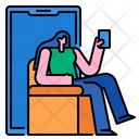 Woman Using Mobile Icon