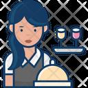 Woman Waiter Female Waiter Waiting Staff Icon