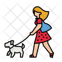 Woman Walking With Dog Pet Dog Icon