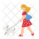 Woman Walking With Dog Icon