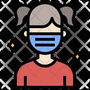 Woman Waring Mask Icon