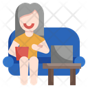 Woman Watching Tv Watch Tv Cinema Icon