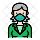 Woman Wear Medical Mask Woman Female Icon