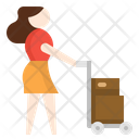 Woman with cart Icon