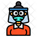Woman With Face Shield Icon