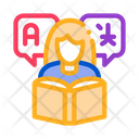 Women Reading Dictionary Icon