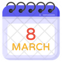 8 March Womens Day Women Day Date Icon
