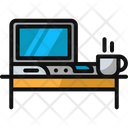 Work And Coffee Coffee Desk Icon