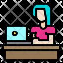Woman Laptop Working Icon