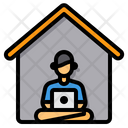 Working At Home Home Office Elearning Icon