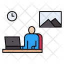 Stayathome Working Online Icon