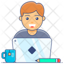 Working At Home Work From Home Workstation Icon
