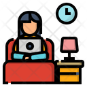 Work From Home Icon Work On Bed Labtop Icon