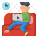 Work From Home Icon Labtop Work On Couch Icon