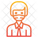 Worker With Facemask Icon