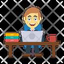 Employee Working Laptop Icon