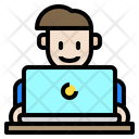 Man Working Laptop Icon