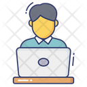 Working Computer Workers People Icon