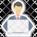 Working Man Laptop Employee Icon