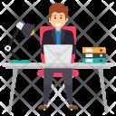 Hard Working Employee Employer Icon