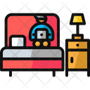 Working On Bed Bed Bedroom Icon
