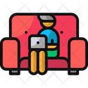 Working On The Couch Couch Home Office Icon
