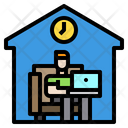 Man Working Home Icon