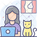 Working With Pet Working With Cat Working On Laptop Icon