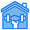 Dumbbell House Stay At Home Icon
