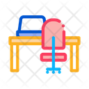 Workplace Table Chair Icon