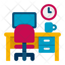 Workspace Working Table Working Desk Icon