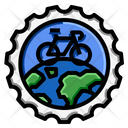 World Bicycle Travel Stamp Icon