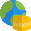 World Database Global Data Storage Global Cloud Icon