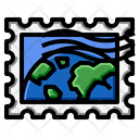 World Map Stamp Icon