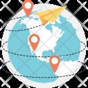 Global Footprint Paperplane Icon