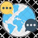 Worldwide Communication Globe Conversation Icon
