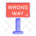 Wrong Way Road Post Traffic Board Icon