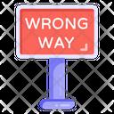 Wrong Way Road Post Traffic Board Icon