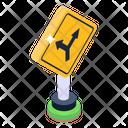 Sign Board Roadbord Y Junction Signage Icon